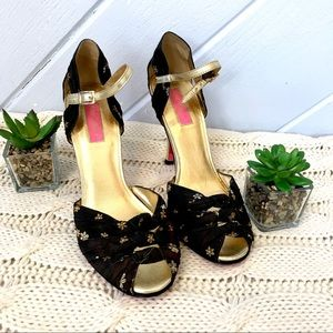 {Betsey Johnson} Peeptoe Heels Daisy Knots